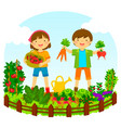 kids in a vegetable garden vector image vector image