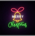 merry christmas neon signboard bright lightning vector image vector image