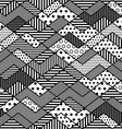 monochrome geometric patchwork pattern vector image vector image