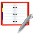 Open Notebook and Grey Pen vector image vector image