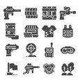 paintball game gray icons set vector image