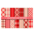 plaid pattern seamless ornate set valentines day vector image
