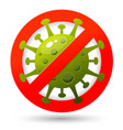 poster design with coronavirus cell and stop sign vector image vector image