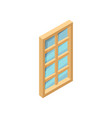 rectangular wooden window with blue glass 3d vector image vector image