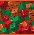 red orange green dice seamless pattern vector image