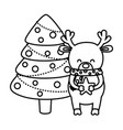 reindeer holding star with tree balls decoration vector image vector image