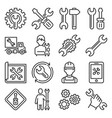 repair and settings icons set on white background vector image