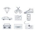 retro elements icons vector image