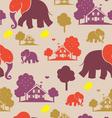 seamless elefant village vector image vector image