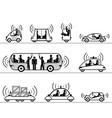 self-driving cars pictograph collection vector image