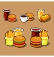 set colorful cartoon fast food icons vector image