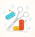 sewing and needlework tools concept vector image