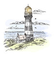 sketch of island with lighthouse at ocean waters vector image