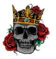 skull wearing a king crown vector image