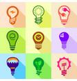 stylized light bulb icons set flat style vector image