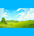 summer field landscape nature hills fields blue vector image vector image