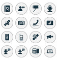 telecommunication icons set with greeting male vector image vector image