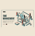 time management landing page planning work time vector image vector image