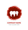tooth icon - red watercolor circle splash vector image vector image