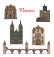 travel landmarks of france famous tourist sights vector image