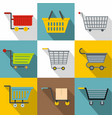 trolley icons set flat style vector image vector image