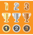 trophy cups stickers vector image vector image