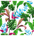 tropical seamless pattern with palm leaves vector image vector image