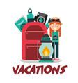 vacations woman backpack lantern passport camera vector image vector image