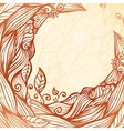 Vintage doodle leaves ornate circle frame vector image vector image