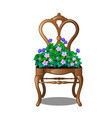 vintage wooden chair with flowers vector image vector image
