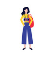 woman tourist with camera and backpack flat vector image