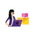young woman using laptop with speech bubble and vector image vector image