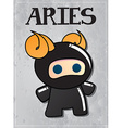 Zodiac sign Aries with cute ninja character vector image vector image