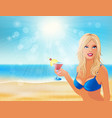 girl with a glass vector image