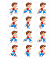 Animation of running boy twelve frames vector image