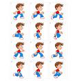 animation running boy twelve frames vector image