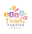 best friends forever logo design happy friendship vector image