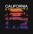 california slogan for t-shirt typography with bear vector image