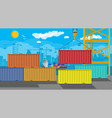 cargo ship container crane port logistics vector image