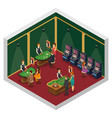 casino isometric interior composition vector image vector image