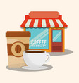 coffee shop paper cup market vector image