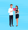 couple lovers holding red heart shape happy vector image vector image