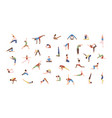 crowd of tiny people performing yoga exercises vector image vector image