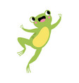 cute green frog with protruding eyes jumping