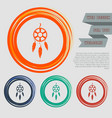 dreamcatcher icon on the red blue green orange vector image vector image