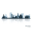 dresden skyline silhouette with reflection vector image vector image