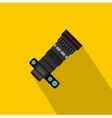 Dslr camera with zoom lens icon flat style vector image vector image