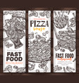 fast food monochrome vertical banners vector image