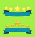 Five stars on blue ribbon flat design with light