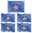 Flat and Waving Hand Draw Sketch Flag of Kosovo vector image vector image